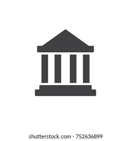 Bank building icon vector, filled flat sign, solid pictogram isolated on white. Courthouse symbol, logo illustration.