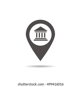 Bank building inside pinpoint. Municipal establishments location icon. Courthouse nearby. Drop shadow silhouette symbol. Vector isolated illustration