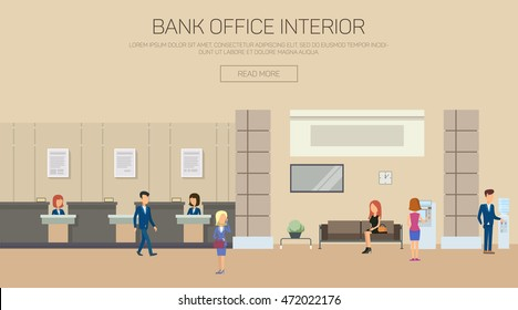 Bank building interior with reception and couch, atm or cash dispenser, automated teller machine and clock. Woman working as financial consulting. Can be used for credit or banking theme
