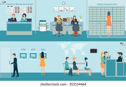 Bank building interior,counter desk,cashier, consulting,money currency exchange, financial services, ATM and safety deposit box with CCTV security camera, Banking concept vector illustration.