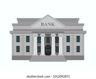 Bank building isolated on white background. Vector illustration design. Flat style.