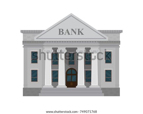 白い背景に銀行の建物。ベクターイラスト。フラットスタイル。
