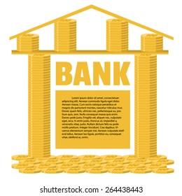 Bank building made of gold coins. Business concept. Place for your text. Flat design.