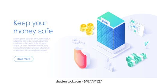Bank building in money transaction concept in isometric vector design. Payment transfer or making deposit or investment. Web banner for website layout template.