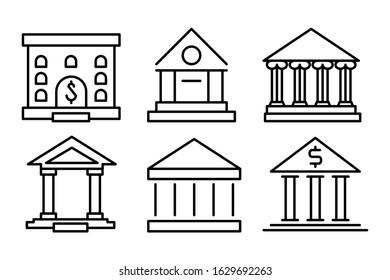 Bank building outline icon set. Flat style illustration. Isolated on white background.