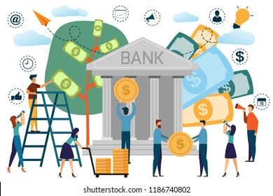 Bank building with saving concept infographics, customers and staff people in bank. cartoon vector illustration.