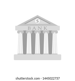 bank building sign. Classical Greece Roman architecture in white with Ionic columns, clock. web icon, isolated vector illustration