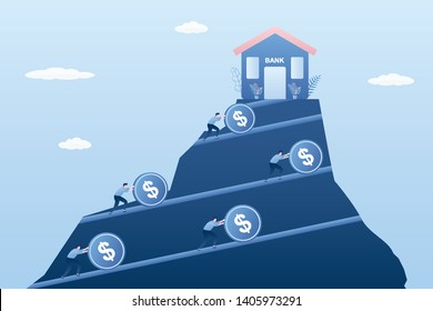 Bank building at the top of the mountain,businessmen rolls coins into the bank,credit burden and loan slaves,trendy style vector illustration