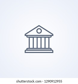 Bank building, vector best gray line icon on white background, EPS 10
