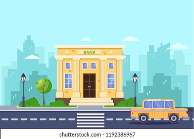 Bank building, vector flat illustration. Banking and financial service. City street, urban landscape background.