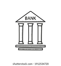 Bank building vector icon in sketch style. Isolated illustration on white background.