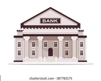 Bank Building. Vector Illustration. Flat Design Style.