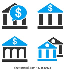 Bank Buildings vector icons. Style is flat bicolored symbols painted with blue and gray colors on a white background, angles are rounded.