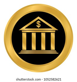 Bank button on white background. Vector illustration.