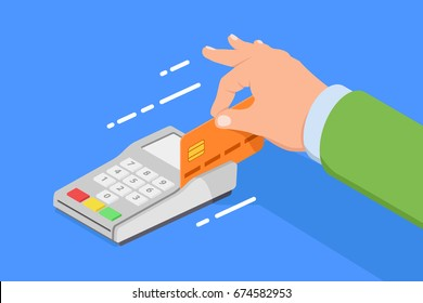 Bank card buying, fast buy concept,  man pays for purchases by credit card through the terminal flat vector illustration in isometric style