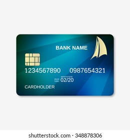 Bank card, credit card design template. Abstract blue vector background