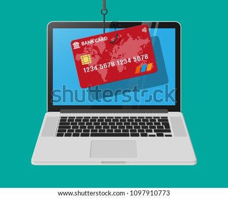 Bank Card Fishing Hook Internet Phishing Stock Vector (Royalty Free