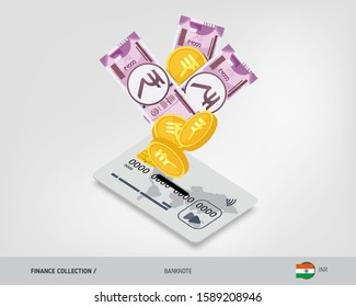 Bank card with flying 2000 Indian Rupee banknotes and gold coins. Flat style vector illustration.