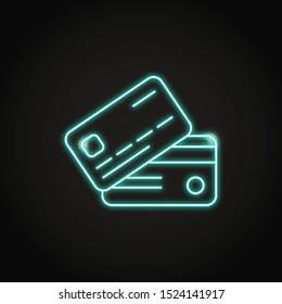 Bankkartensymbol im Neon-line-Stil. Symbol für Kredit- oder Debitkarte. Finanzielle Vektorgrafik.