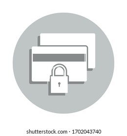 Bank card, lock, security badge icon. Simple glyph, flat vector of business icons for ui and ux, website or mobile application