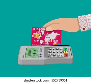 Bank card and payment pos terminal. vector illustration in flat style