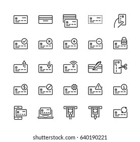 Bank card related vector icon set in thin line style