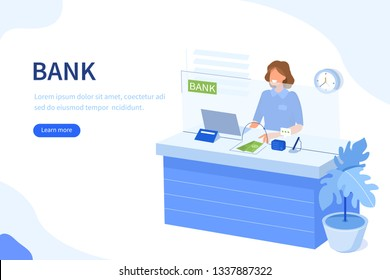 Bank cashier behind cash department window. Can use for web banner, infographics, hero images. Flat isometric vector illustration isolated on white background.
