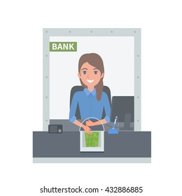 Bank cashier behind cash department window. Vector concept illustration.