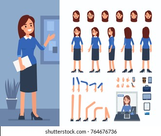 Bank cashier woman character constructor and office objects for animation scene.  Set of various women's poses, faces, mouth, hands, legs. Flat style vector illustration isolated on white background.