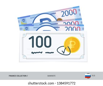 Bank check with 2000 Russian Ruble banknotes. Flat style vector illustration. Finance concept.