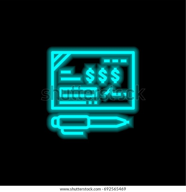 Bank check blue glowing neon ui ux icon. Glowing sign logo vector