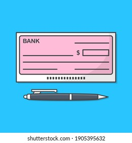 Bank Check Or Bank Cheque With Pen Vector Icon Illustration. Blank Cheque Flat Icon
