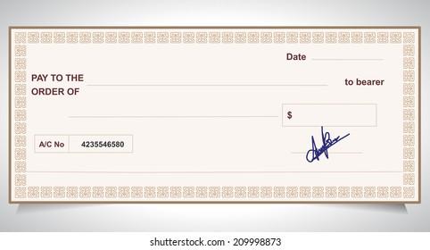 BANK CHECK, bank cheque - Vector eps10