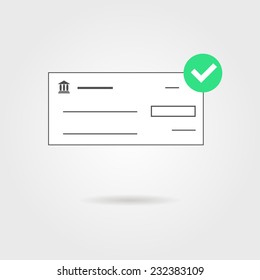 bank check with green check mark icon and shadow. isolated on grey stylish background. concept of banking transaction, shopping, earnings and payment of bills. modern trendy design vector illustration