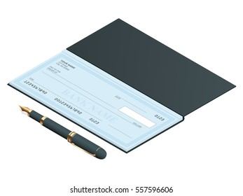 Bank Check with Modern Design. Vector isometric illustration. Cheque book on colored background. Bank check with pen. Concept illustration pay, payment, buy.