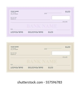 Bank Check with Modern Design. Vector illustration. Cheque book on colored background. Bank check with pen. Concept illustration pay, payment, buy.