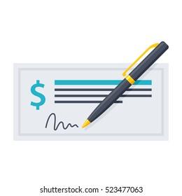 Bank Check and Pen
