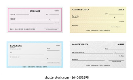 Bank check. Presentation blank cheque checkbook with guilloche pattern and watermark for certificate, voucher or banknote vector business printing template