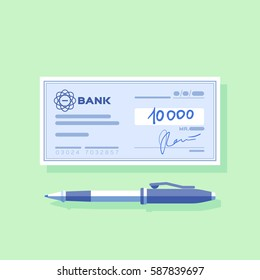 Bank check with signature and pen. Green background.  Vector, illustration, flat.