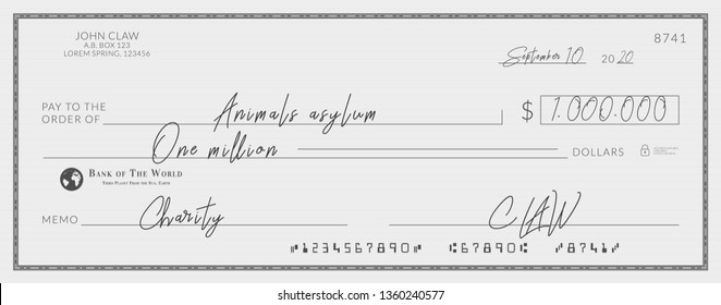 Bank check signed for charity. One million dollars donation for the animals asylum