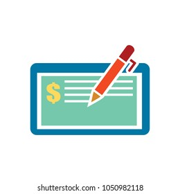 bank cheque or cheque voucher - a bank icon