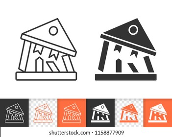 Bank Collapse black linear and silhouette icons. Thin line sign of crash. Bankrupt outline pictogram isolated on white, transparent background. Vector Icon shape. Bank crisis simple symbol closeup
