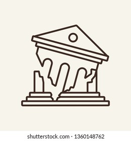 Bank collapse line icon. Crash, bankrupt, ruined building. Bankruptcy concept. Vector illustration can be used for breakdown, insolvency, financial crisis