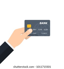 Bank credit card in the hand. Financial and money payments concept. Vector illustration