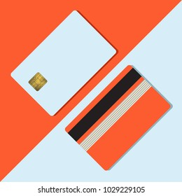 Bank credit card mockup vector illustration. Blank business template on red background with shadow. Payment device clear with gold metal gradient chip and black stripe. Round corners.