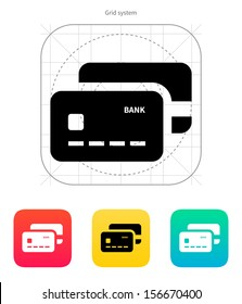 Bank credit cards icon. Vector illustration.