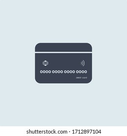 bank credit or debit card in flat simple style on white blue background. concept finance. vector symbol