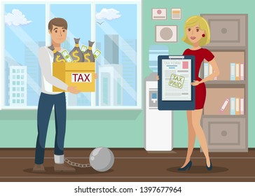 Bank Debt, Tax Paying Flat Vector Illustration. Revenue Agency, Financial Advising Company Worker. Taxpayer and Collector, Creditor Cartoon Characters. Lawyer Showing Client Legal Document