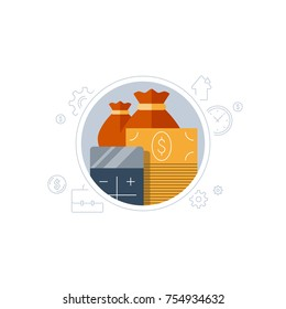 Bank deposit account, financial concept, return on investment, budget planning, currency calculation, income increase, pension fund, retirement savings, superannuation, finance loan, vector flat icon
