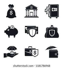 Bank deposit fix save money icon set. Simple set of bank deposit fix save money vector icons for web design on white background